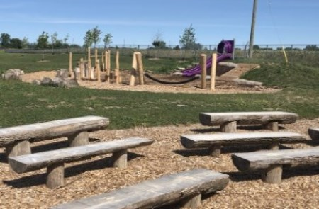 playground slide and wood climbing objects