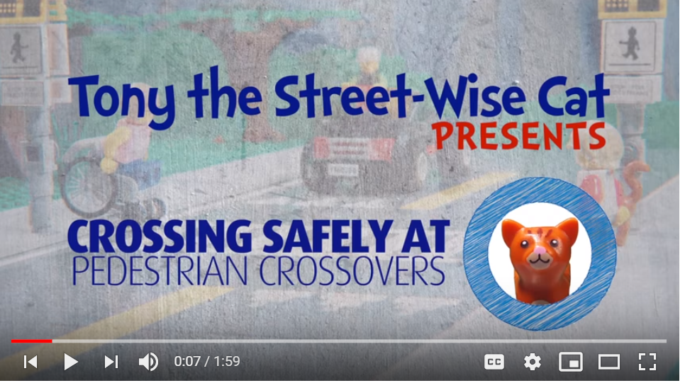 words say Tony the street wise cat presents crossing safely a pedestrian crossover